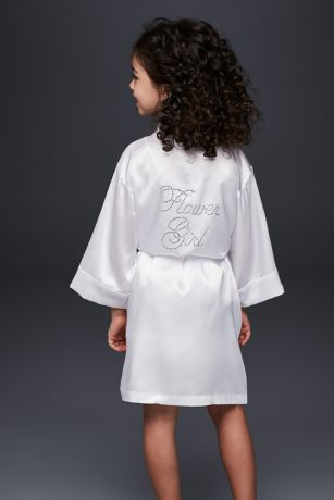 Flower Girl Satin Rhinestone Robe