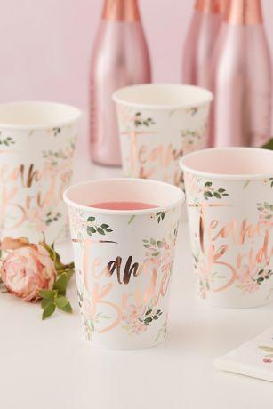 Team Bride Floral Cups