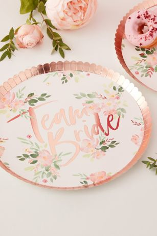 Team Bride Scalloped Floral Plates