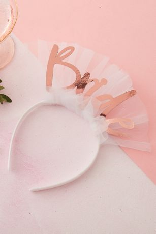 Rose Gold Bride Headband with Tulle