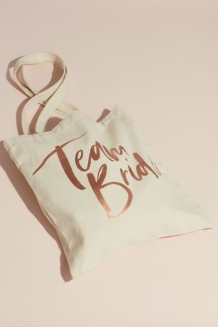 Team Bride Metallic Script Canvas Tote