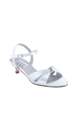 Dyeables White (Dyeable Satin Kitten Heel Sandals with Crystals)