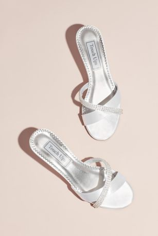 Touch Ups White Wedges (Dyeable Satin Mules with Jeweled Strap)