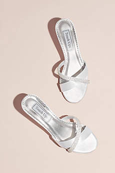 Touch Ups White Open Toe Shoes (Dyeable Satin Mules with Jeweled Strap)