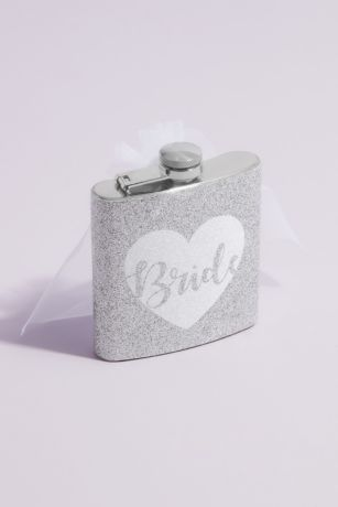Glitter Bride Flask with Veil