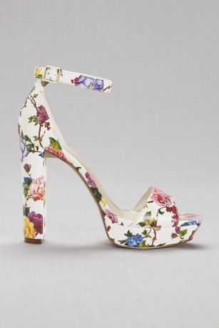 David's Bridal Multi Heeled Sandals (Floral Platform Heels)
