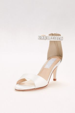 Liz Rene White (Dyeable Italian Silk Peep-Toe Heels with Crystals)
