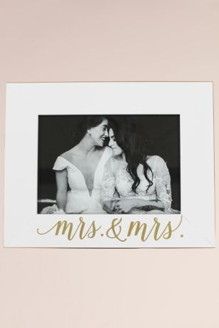 Mrs and Mrs White and Gold Scripted Frame