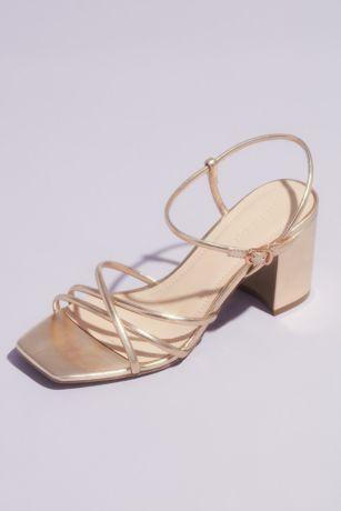 Strappy Metallic Block Heel Ankle Buckle Sandals