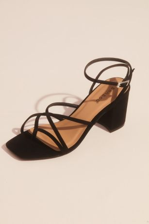 Bamboo Beige;Black Heeled Sandals (Crisscross Thong Ankle Strap Block Heel Sandals)