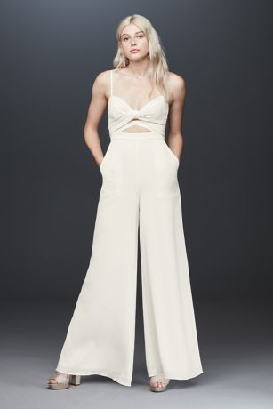 Long Jumpsuit Wedding Dress - Fame and Partners x David's Bridal