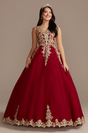 Long Ballgown Cap Sleeves Dress - Fifteen Roses