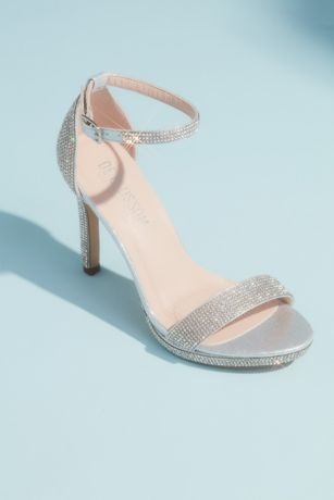 Blossom Grey Heeled Sandals (Allover Pave Crystal Ankle Strap Sandals)
