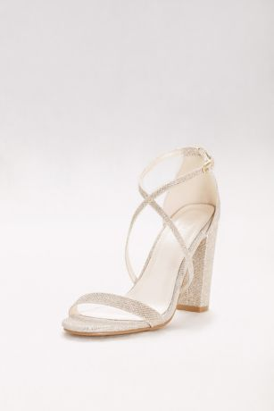 David's Bridal Grey;Yellow Heeled Sandals (Crisscross Strap Block Heel Sandals)