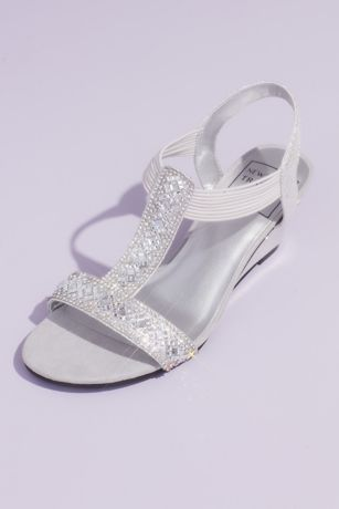New York Transit Grey Wedges (Embellished Metallic Slip-On Wedges with Cutout)