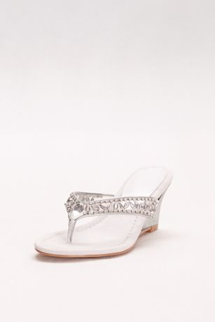 New York Transit Grey Wedges (Embellished Wedge Sandals)