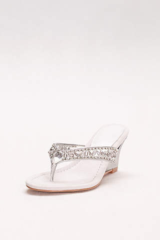 New York Transit Grey Wedge Shoes (Embellished Wedge Sandals)