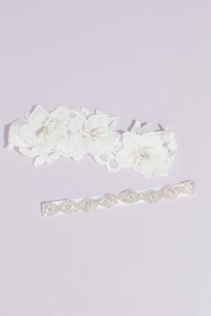 Embroidered Floral Lace Crystal Garter Set