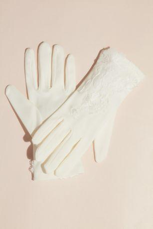 Lace Appliqued Wrist-Length Gloves