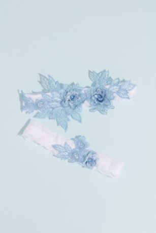 Embroidered Flowers and Lace Garter Set