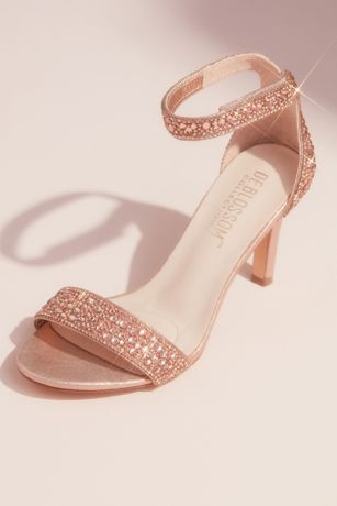 Blossom Grey;Pink Heeled Sandals (Metallic Tonal Crystal Velcro Strap Heeled Sandals)