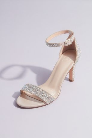 David's Bridal Pink Heeled Sandals (Pearl and Iridescent Crystal One-Band Mid Heels)