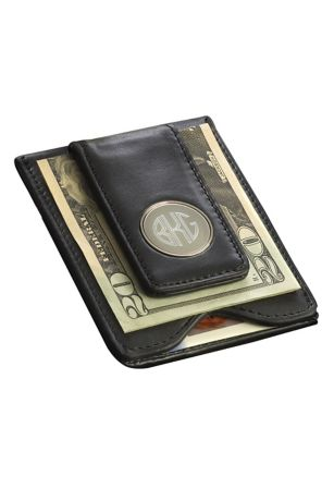 Personalized Leather Wallet and Money Clip