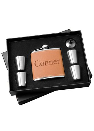 Personalized Hide Flask and Shot Glass Gift Set