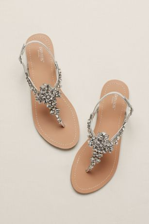 a50185399 David s Bridal Grey Flat Sandals (Jeweled T Strap Sandal)