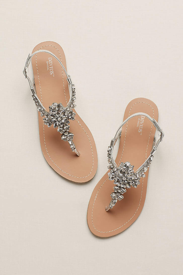 David s Bridal Grey Flat Sandals (Jeweled T Strap Sandal) 39f71217138a