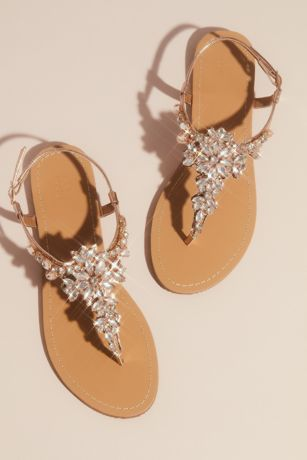 David's Bridal Grey;Pink Flat Sandals (Jeweled T Strap Sandal)
