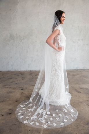 Scattered Floral Lace SilkTulle Chapel Veil