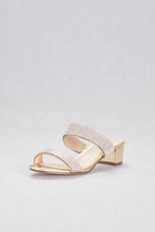 Touch of Nina Yellow Heeled Sandals (Metallic Heeled Sandals with Crystal Straps)