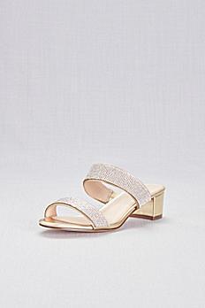 Metallic Heeled Sandals with Crystal Straps GILLIAN