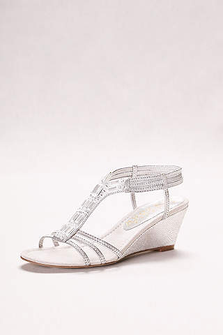 Marvelous New York Transit Beige Wedge Shoes (Metallic Wedge Sandals With Jeweled  T Straps)