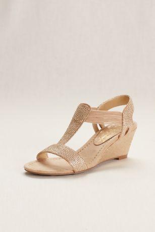 New York Transit Grey;Ivory Wedge Shoes (Glitter Wedge Sandal with Studded Elastic Straps)