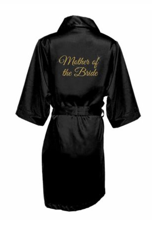 Glitter Print Mother of the Bride Satin Robe