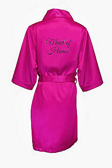 Glitter Print Maid of Honor Satin Robe