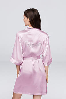 Personalized Glitter Print Name Satin Robe