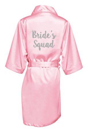 """Glitter Print Bride""""s Squad Satin Robe"""