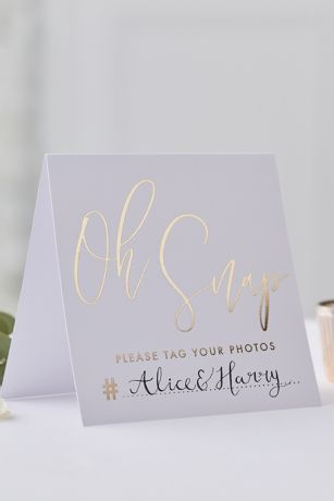 Oh Snap Wedding Hashtag Tent Cards