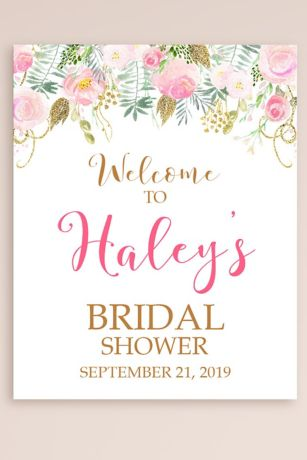 Personalized Floral Bridal Shower Welcome Sign