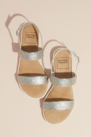 New York Transit Grey Flat Sandals (Double Strap Pave Crystal Sandals with Instep)