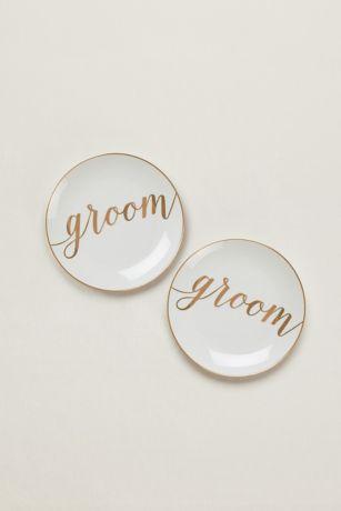 Groom and Groom Dessert Plates Set of 2