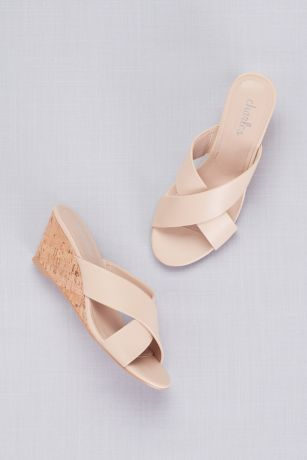 Charles By Charles David Beige Sandals (Cross-Strap Slip-On Cork Wedge Sandals)