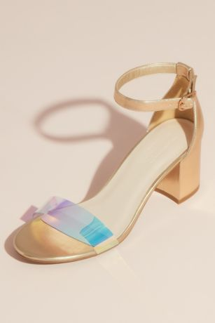David's Bridal Yellow Heeled Sandals (Metallic Block Heel Sandals with Holographic Strap)