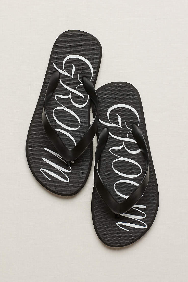 4f15d1484cc3b David s Bridal Black Flip Flops (Groom Flip Flops)