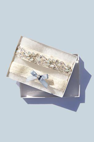 Iridescent Crystal Encrusted Lace Garter Set