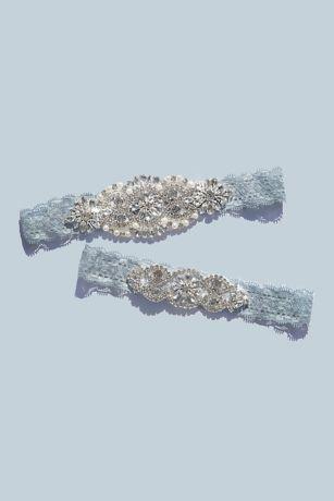 Deco Crystal Encrusted Lace Garter Set