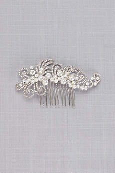 Swirling Crystal and Pearl Comb